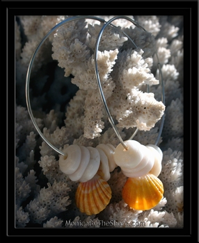 Bright Yellow Sunrise Shell & Puka Shell Big Hoop Earrings