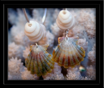 Green Rainbow Sunrise Shell Big Hoop Earrings