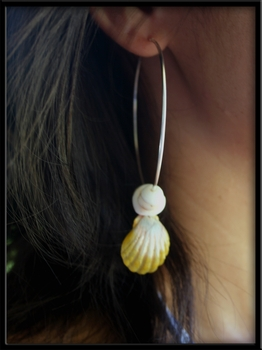 Sterling Silver Hoops & Sunrise Shell & Puka Shells Earrings