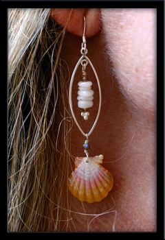 Hawaiian Sunrise Shell Puka Shell & Silver Earrings