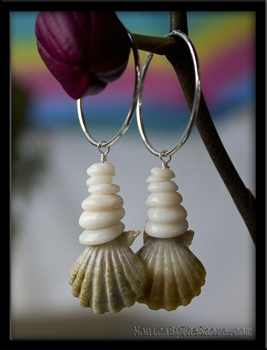 Green Sunrise Shell & Puka Shell Silver Hoop Earrings