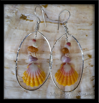 Beach Candy Sunrise Shell Silver Hoop Earrings