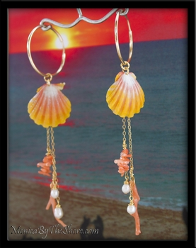 Pink Coral, Pearl & Pink & Yellow Hawaiian Sunrise Shells Gold Hoop Earrings
