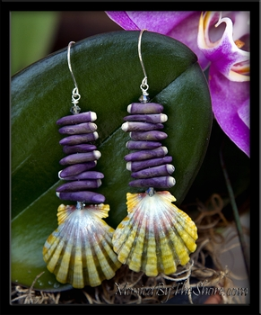 Purple Sea Urchin & Green Rainbow Hawaiian Sunrise Shells Earrings