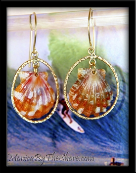 Orange Hawaiian Sunrise Shell Gold Hoops Earrings