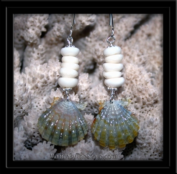 Green Sunrise Shell & Puka Shell Long Wire Earrings