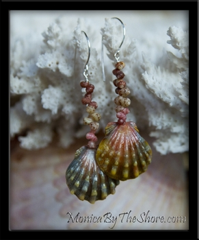 Custom Hawaiian Sunrise Shell & Kahelelani Shells Earrings