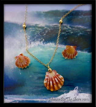 Orange Sunrise Shell Earrings Necklace Gold Set