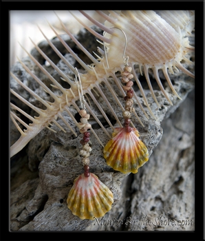 Kahelelani Shells & Pink Green Hawaiian Sunrise Shell Earrings