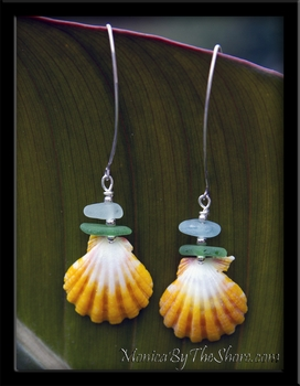 Seaglass & Sunrise Shells Earrings