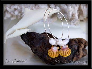 Custom Big Hoop Sunrise Shell & Puka Shells Earrings for Shannon