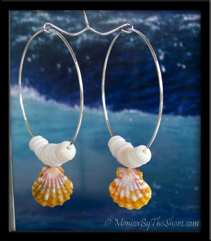 "Custom for ""Lucia"" Hawaiian Sunrise Shell & Puka Shells Big Hoop Earrings"