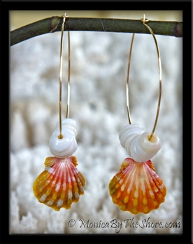 "Custom for ""Dee"" Gold Hoop Hawaiian Sunrise Shell & Puka Shells Earrings"