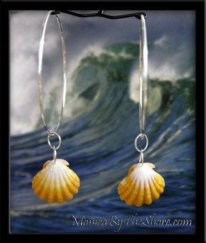 "2 1/2"" Big Hoop Bright Yellow Sunrise Shell Silver Earrings"