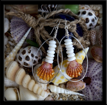"Hawaiian Sunrise Shell & Puka Shells Hammered Hoop Earrings for ""Yuko"""