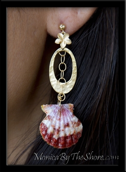 Custom Red Kauai Hawaiian Sunrise Shell Whole Pair Earrings