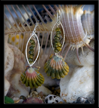Green & Pink Hawaiian Sunrise Shells & Tahitian Mongo Shell Earrings