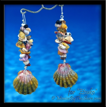 Moonrise Hawaiian Sunrise Shell & Seashell Fantasy Earrings