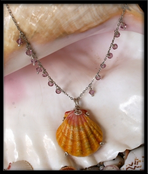 Large Bright Yellow Pink Sunrise Shell Silver Necklace