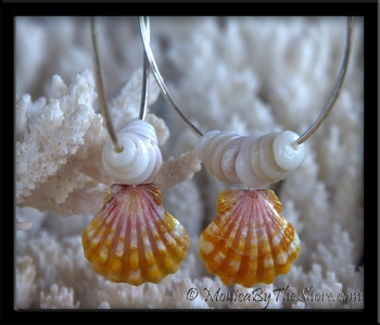 """Big Hoop"" Papaya Hawaiian Sunrise Shell & Puka Shells Earrings"
