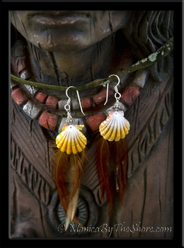 Hawaiian Sunrise Shell & Cock Feather Sterling Silver Earrings