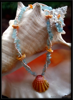 Aquamarine, Pearl & Sunrise Shell Lei Necklace