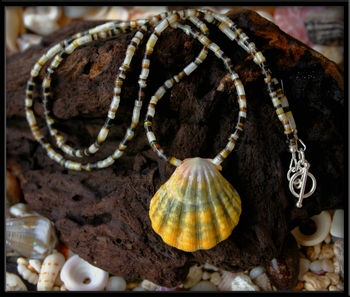 Green Yellow Sunrise Shell Medallion Heishi Shell Necklace