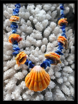 Custom Sunrise Shell & Sunrise Chip Blue Lapis Lei
