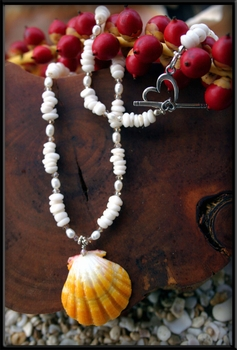 Yellow White Sunrise Shell, Puka Shell & Pearl Necklace