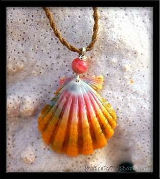 Pretty Pink & Yellow Hawaiian Sunrise Shell Cord Necklace