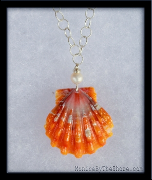 Orange Pearl Hawaiian Sunrise Shell Silver Necklace