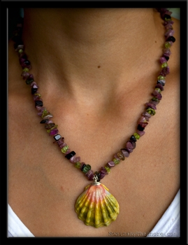 Extra Large Green & Pink Sunrise Shell Tourmaline Necklace