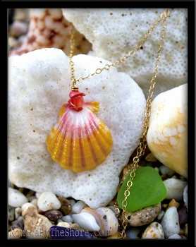 Pink Coral Hawaiian Sunrise Shell Gold Chain Necklace