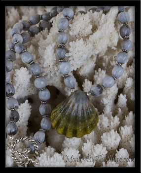 Green Moonrise Hawaiian Sunrise Shell & Jobs Tears Necklace