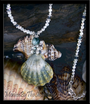 Custom Full Moon Moonrise Hawaiian Sunrise Shell, Pearl, Crystal & Jade Lei