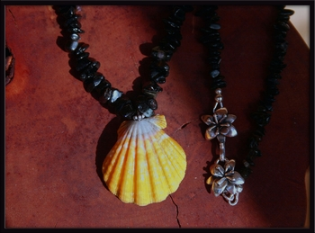 Black Tourmaline & Yellow Sunrise Shell Necklace