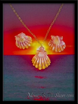 Baby Pink & Orange Hawaiian Sunrise Shell Earring Necklace Set
