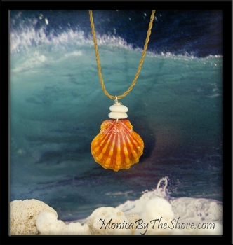 Pink & Orange Keep da Country Country Hawaiian Sunrise Shell & Puka Shell Necklace