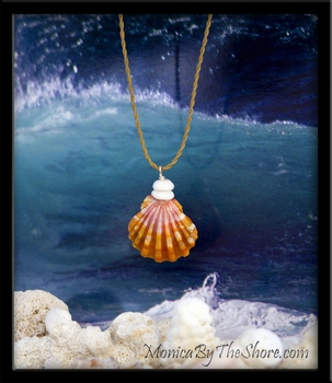 "Orange & Pink ""Keep da Country Country"" Hawaiian Sunrise Shell & Puka Shells Necklace"
