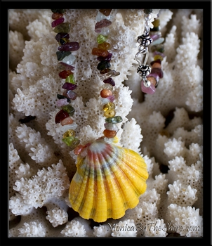 Custom for Anja Hawaiian Rainbow Sunrise Shell & Multi Color Gemstone Lei Necklace
