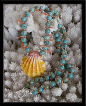 Hawaiian Sunrise Shell Turquoise & Pink Coral Necklace