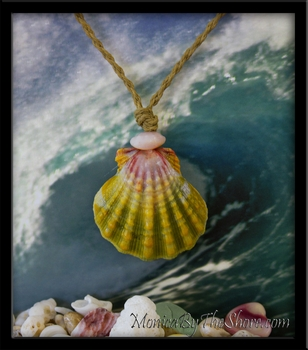 Giant Hawaiian Rainbow Sunrise Shell Pendant Cord Necklace