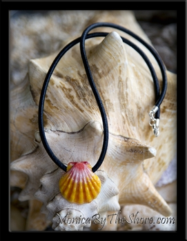 "Custom ""Haleiwa Hardware"" Sunrise Shell Leather Necklace for Lori"