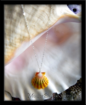Gold Green Rainbow Hawaiian Sunrise Shell Necklace