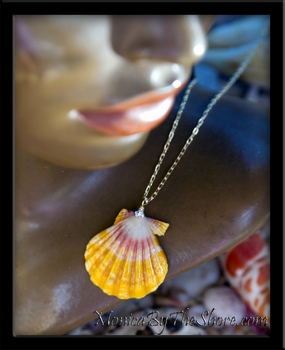 Bright Pink Yellow Hawaiian Sunrise Shell Gold Chain Necklace