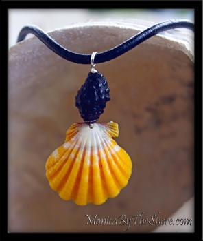 """Haleiwa Hardware"" Hawaiian Sunrise Shell & Black Maka'awa Leather & Silver Necklace"