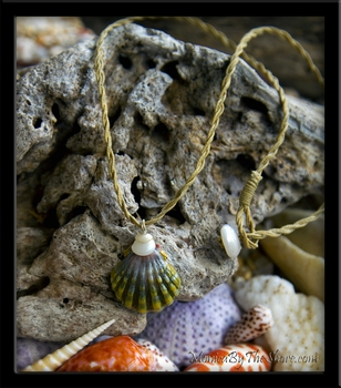 "Custom for Louie ""Moonrise"" Green Hawaiian Sunrise Shell & Puka Shells Cord Necklace"