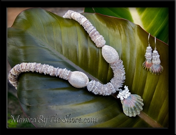 "Opihi Shells, Granulated ""Bumpy"" Cowrie & Sunrise Shell Lei Necklace"