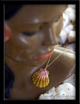 Pastel Rainbow Hawaiian Sunrise Shell Gold Chain Necklace