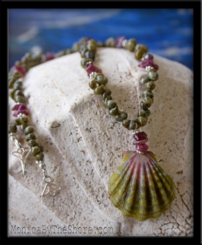 Green Pink Hawaiian Sunrise Shell & Rose Tourmaline & Tahitian Mongo Shell Lei Necklace